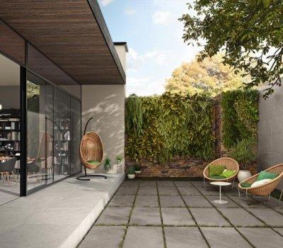 Terrasse Ansicht graue Platten